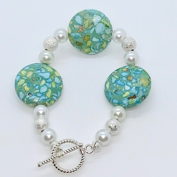 Green Mosaic Bead, White Pearl and Silver Stardust Bead Bracelet