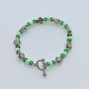 Kids' Green Seed Bead, White Seed Bead and Silver Turtle Bead Bracelet
