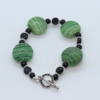 Green Striped Bead and Black Jasper Bead Bracelet