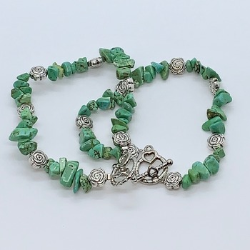 Green Turquoise Chip and Antique Silver Rose Bead