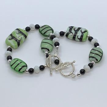 Green, White and Black Marble Bead Bracelet