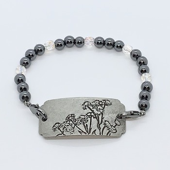 Hematite and Crystal Czech Bead Bracelet with Pewter Flower Connector
