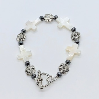 Hematite Bead and White Cross Bead Bracelet
