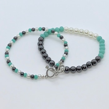 Hematite Bead, White Pearl and Teal Faceted Bead Bracelet 2 Piece Set