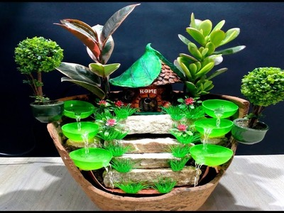 How to make Beautiful Fairy garden with Fountain used broken vase. DIY