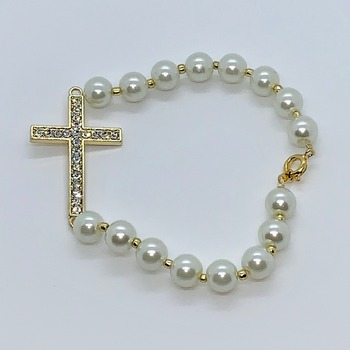 Ivory Pearl and Gold Crystal Cross Bracelet