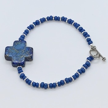 Lapis Cross and Silver Bead Bracelet