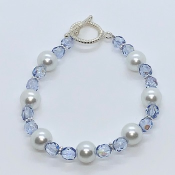 Light Blue Czech Bead and White Pearl Bracelet