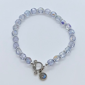 Light Blue Czech Bead Bracelet with Moonstone Charm