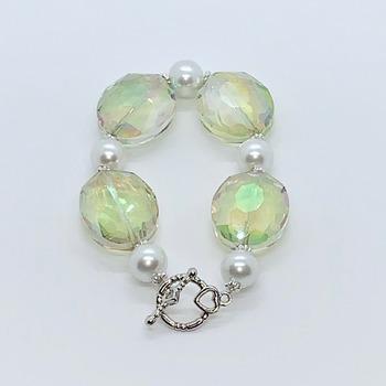 Light Green Iridescent Bead and White Pearl Bracelet