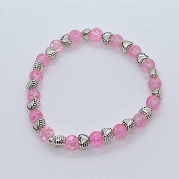 Light Pink Crackle Bead and Antique Silver Heart Bead Bracelet
