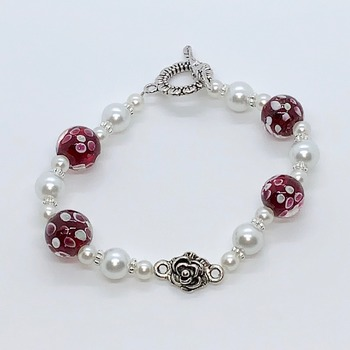 Maroon Flower Bead and white Pearl Bracelet with Antique Rose Connector