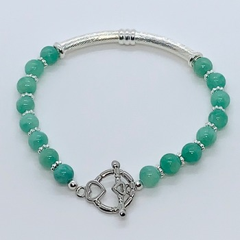 Mint Green Bead and Silver Bead Bracelet