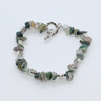 Multi-Green Jasper Chip and Silver Flower Bead Bracelet