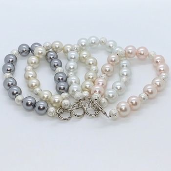 Pearl and Silver Stardust Bead Bracelet in Various Colors