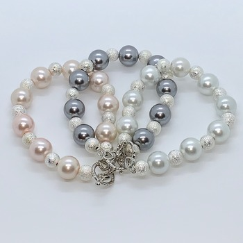 Pearl and Silver Stardust Bead Bracelets in Various Colors