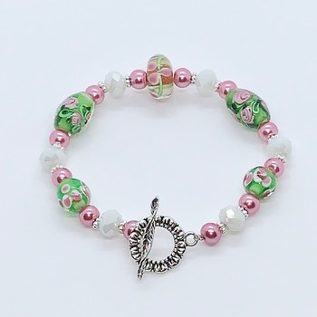 Pink and Green Flower Bead Bracelet
