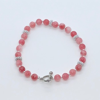 Pink Coral and Silver Bead Bracelet