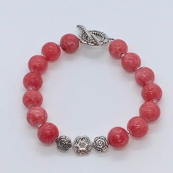Pink Coral Bead and Antique Silver Flower Bead Bracelet
