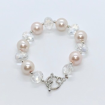 Pink Pearl and Crystal Czech Bead Bracelet