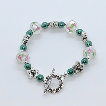 Pink, White and Green Marble Bead and Green Bead Bracelet