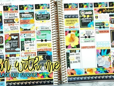 Plan with me in my Erin Condren Life Planner | Black Out Florals