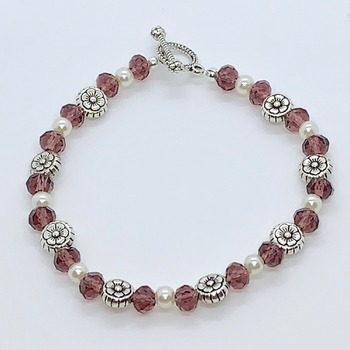 Purple Faceted Bead, Ivory Pearl and Antique Silver Flower Bead Bracelet