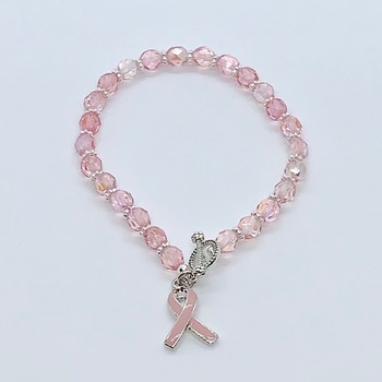 Raspberry Czech Bead Bracelet with Pink Ribbon Charm