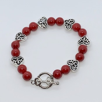 Red Bead and Silver Heart/Butterfly Bead Bracelet