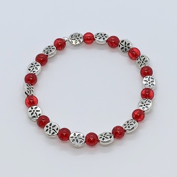 Red Crackle Bead and Antique Silver Flower Bead