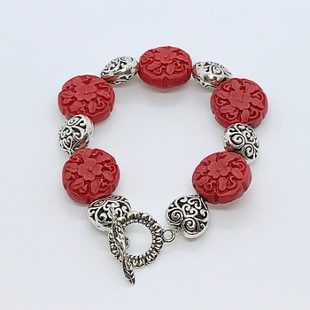 Red Flower Bead and Silver Heart Bead Bracelet