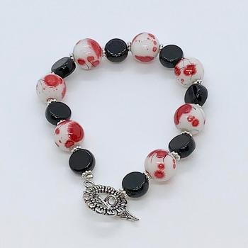 Red Flower Blossom Bead and Black Jasper Bead Bracelet