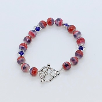 Red, White & Blue Marble and Silver Star Bead Bracelet