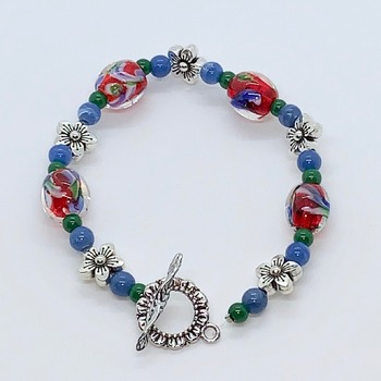 Red, White & Blue Marble Bead and Antique Silver Flower Bead
