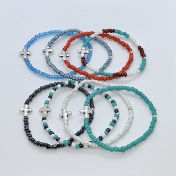 Silver Cross and Seed Bead Bracelets (in various colors)