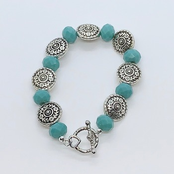 Teal Faceted Bead and Antique Silver Scroll Bead Bracelet