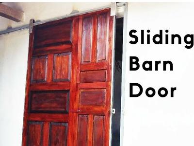 The 25$ DIY Sliding Barn Door from 3 Old Door - Easy DIY Project