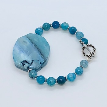 Turquoise Agate and Silver Bead Bracelet