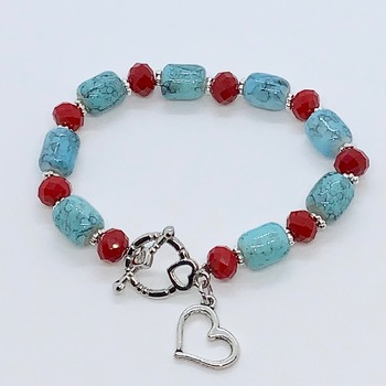 Turquoise Barrel Bead and Red Bead Bracelet with Heart Charm