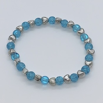 Turquoise Crackle Bead and Antique Silver Heart Bead Bracelet