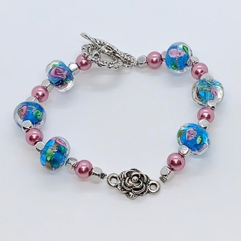 Turquoise Flower Bead and Pink Pearl Bracelet