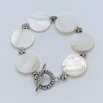 White Coin Shell Bead and Antique Silver Flower Bead Bracelet