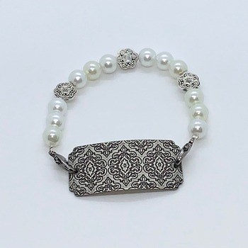 White Pearl and Burnished Silver Connector Bracelet