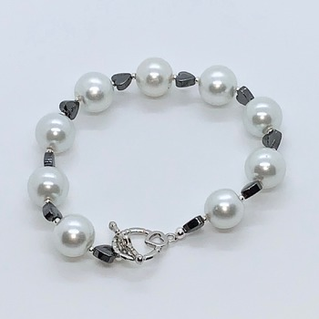 White Pearl and Hematite Heart Bracelet