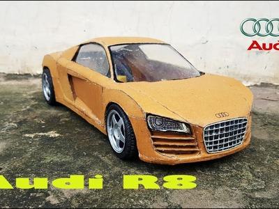 WOW! Audi R8   How to make Audi R8 car with cardboard   DIY   Electric toy car
