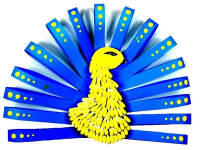 Color Paper wall Decoration craft - Reusing waste Cotton buds idea - Peacock - kids craft