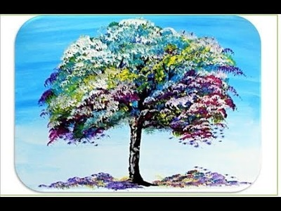 How to paint a TREE. Painting Tutorial colorful RAINBOW tree Step by Step in acrylic for beginners