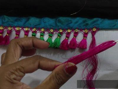 Saree gonde making with flower beads I सारी कुचु विथ बिद्स I Ladies Club