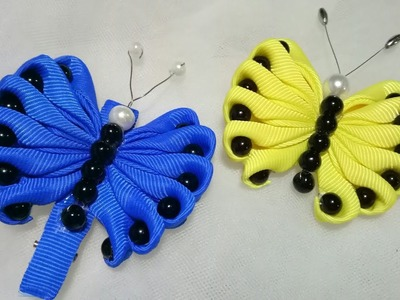 144) DIY || Cara Membuat Bros Kupu-Kupu || How to Make Butterflies from Ribbon || Hairclip