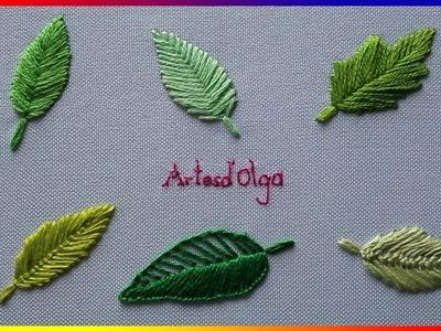 6 leaf embroidery stitches - Step by step | 6 puntadas básicas para bordar hojas | Artesd'Olga
